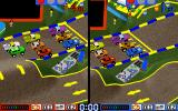 Race Mania DOS Water bridge, two player vertical split-screen