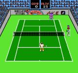 Rad Racket: Deluxe Tennis II NES Standing next to the ball