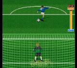 Hat Trick Hero 2 SNES Penalty kicks are performed in a special perspective