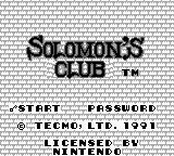 Solomon's Club Game Boy Title screen (US)