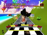 Motor Toon Grand Prix PlayStation Captain Rock falling towards his car, at the start of the race.