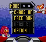 Sonic Drift 2 Game Gear Mode selection