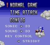 Sonic Labyrinth Game Gear Main menu