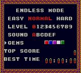 Super Columns Game Gear Endless Mode options