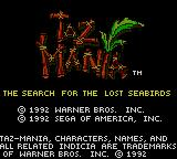 Taz-Mania Game Gear Title screen