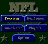 NFL Quarterback Club 96 Game Gear Main menu