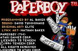 Paperboy Lynx Title screen