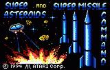 Super Asteroids and Missile Command Lynx Title screen