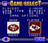 NFL '95 Game Gear Game selection