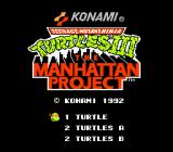 Title screen. Choose 1 or 2 simultaneous players and if turtles can hit each other or not.