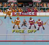 Hit the Ice: The Video Hockey League SNES The face off