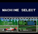 F1 Pole Position SNES Machine select screen