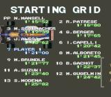 F1 Pole Position SNES Starting grid