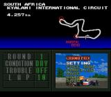 F1 Pole Position SNES Menu before a race