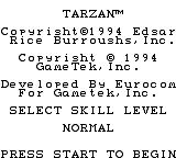 Tarzan: Lord of the Jungle Game Boy The copyright/options screen.