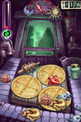 Zombie Pizza iPhone Zombie Pizza ingredients drop down from the pipe at left, then run down a conveyor belt. You arrange them according 'recipe' and the flip completed pizzas through the slot to feed the ravenous undead.