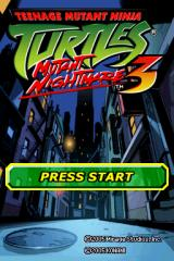 Teenage Mutant Ninja Turtles 3: Mutant Nightmare Nintendo DS Title screen.