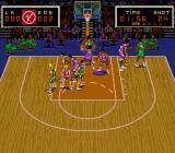 Super Slam Dunk SNES The player being controlled is highlighted