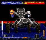 Terminator 2: Judgment Day SNES Fighting the HK Tank boss at the end of the first level.