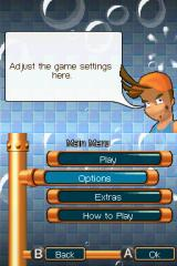 Pipe Mania Nintendo DS Menu screen.
