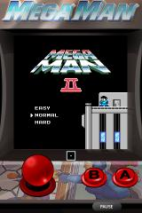 "Mega Man 2 iPhone Mega Man II title screen complete with ""arcade style"" touch screen controls."