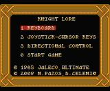 Knight Lore Remake MSX Main menu