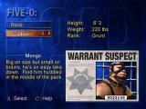 Road Rash: Jailbreak PlayStation Five-O mode - Selecting the suspect.