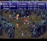 Chrono Trigger SNES Fighting some weird creatures in a devastated laboratory