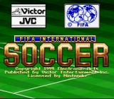 FIFA International Soccer SNES Title screen for the Japanese version. Notice that the EA Sports logo is once again replaced by Victor/JVC's