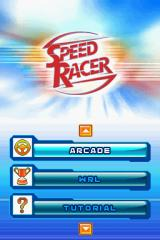 Speed Racer: The Videogame Nintendo DS Title screen with main menu.
