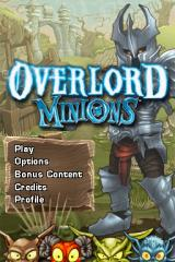 Overlord Minions Nintendo DS Title screen with main menu.