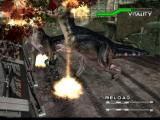 Dino Crisis 2 Windows Running through a T-Rex nest while Regina protects you with an artillery fire.