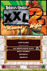 Astérix & Obélix XXL 2: Mission: Wifix Nintendo DS Title screen with main menu.