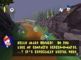 Disney's Donald Duck: Goin' Quackers PlayStation Gyro gives instructions about the game through the television screens.