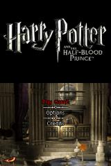 Harry Potter and the Half-Blood Prince Nintendo DS Title screen with main menu.
