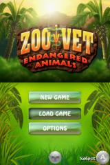 Zoo Vet: Endangered Animals Nintendo DS Title screen with main menu.