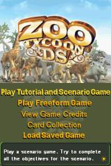 Zoo Tycoon DS Nintendo DS Title screen with main menu.