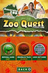 Zoo Quest: Puzzle Fun Nintendo DS Title screen with level selection menu.