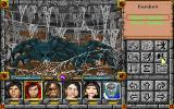 Might and Magic: Clouds of Xeen DOS Cave battle: The Red Dwarf Mines are crawling with spiders.