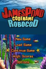 James Pond 2: Codename: RoboCod Nintendo DS Title screen with main menu.