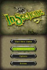 Insecticide Nintendo DS Title screen with main menu.