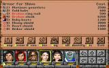 Might and Magic: Darkside of Xeen DOS The inventory. Some equipment is broken and needs repair.