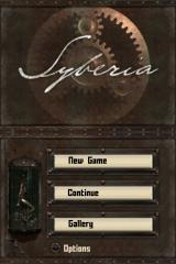 Syberia Nintendo DS Title screen with main menu.