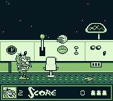 The Ren & Stimpy Show: Space Cadet Adventures Game Boy Starting the game as Cadet Stimpy. The blob on the floor will hurt you.