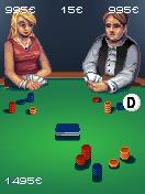 Texas Poker J2ME The main game screen. The D-icon indicates the current dealer