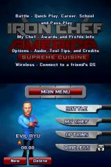 Iron Chef America: Supreme Cuisine Nintendo DS Menu screen.