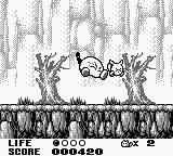 Trip World Game Boy The first boss jumps and kicks your hero.