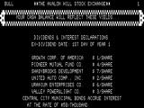 Computer Stocks & Bonds TRS-80 Game start - Yields for the various stocks
