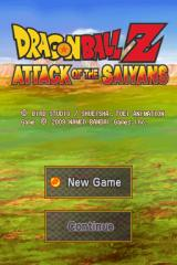 Dragon Ball Z: Attack of the Saiyans Nintendo DS Title screen with main menu.