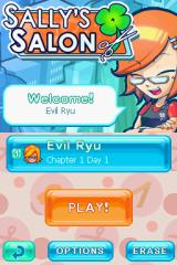 Sally's Salon Nintendo DS Menu screen.